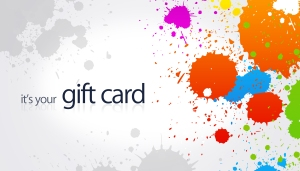 High resolution gift card with splash colored elements.